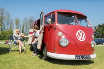 Red VW camper van