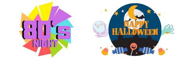 halloween and 80's night logo